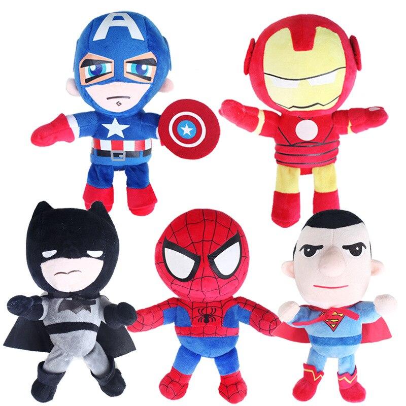The Avengers Plush Toys Doll 25cm Spiderman Iron Man Batman Captain America Superman Plush Soft Stuffed Toys Gift for Children