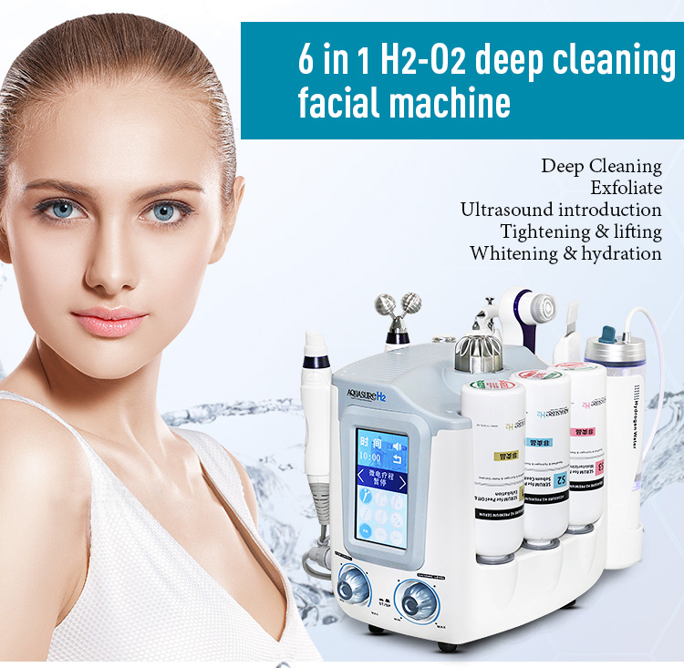 2019 New 6 In 1 Hydroxy Soluble Facial Machine Aqua Peel Oxyhydrogen Deep Cleanser Hydra Multifunctional Facial Spa Equipment