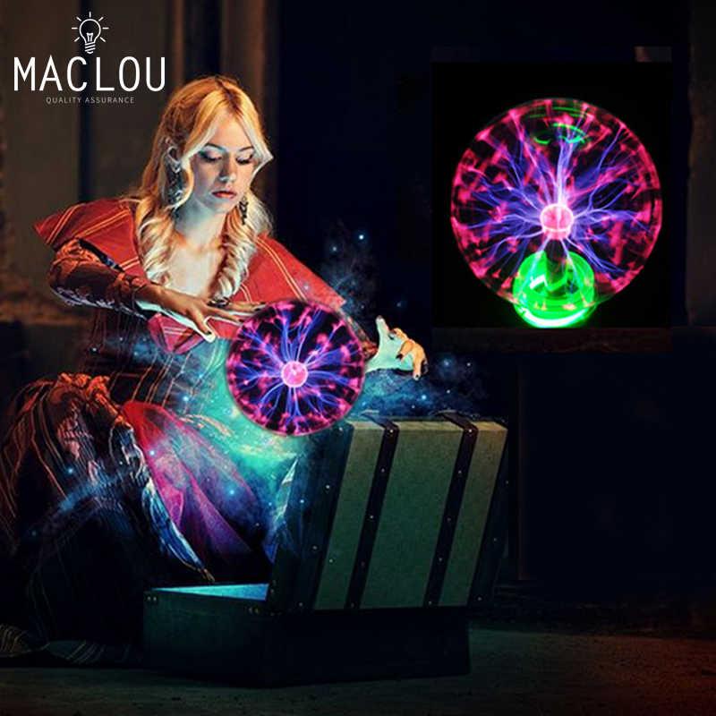 Новинка огни 3 4 5 6 дюймов Стекло Волшебная Сфера плазменный шар лампы рождественские украшения для детей подарок Новый год плазменной круглый светильник