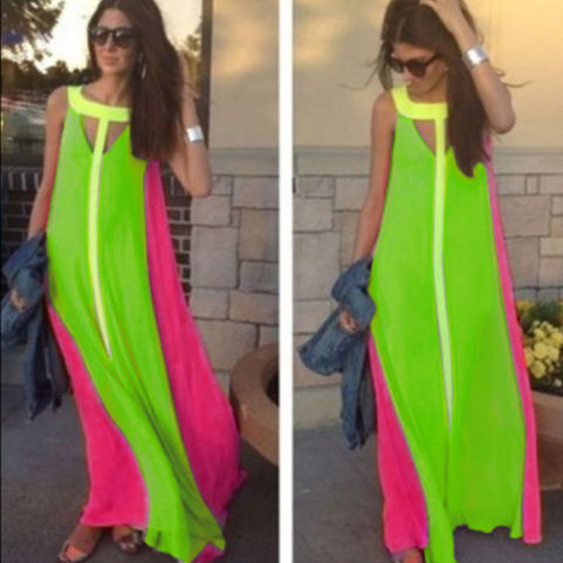2016 Fashion Women Maxi Dress Sexy Cut Out Neon Color Patch Robe