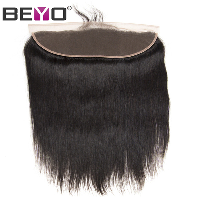 Beyo Pre Plucked Lace Frontal With Baby Hair Free/Middle/Three Part Malaysian Straight Ear To Ear Frontal Closure Non-Remy Hair