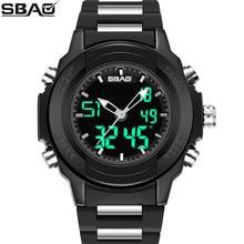 Фотография SBAO Brand Men Sport Watch New Double Display Male Digital Wristwatch Week Calendar 30M Waterproof Masculino Back Light Alarm