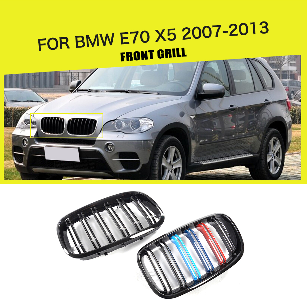 ABS Front Bumper Grille Cover Trim Accessories For BMW E70 X5 SUV 4 Door 2007-2013 stainless steel front bumper grille insects prevention nets cover for nissan patrol armada accessories 2013 2014 2015 2016 2017