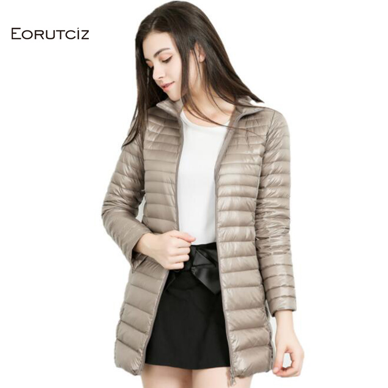EORUTCIZ Winter Long   Down     Coat   Women Plus Size 7XL Ultra Light Jacket Warm Vintage Black Autumn Duck   Down     Coat   LM114