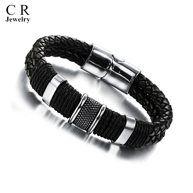Mens Boys Black Leather Braided Wristband Bracelets Bangle Stainless Steel Clasp style 1 Jewelry