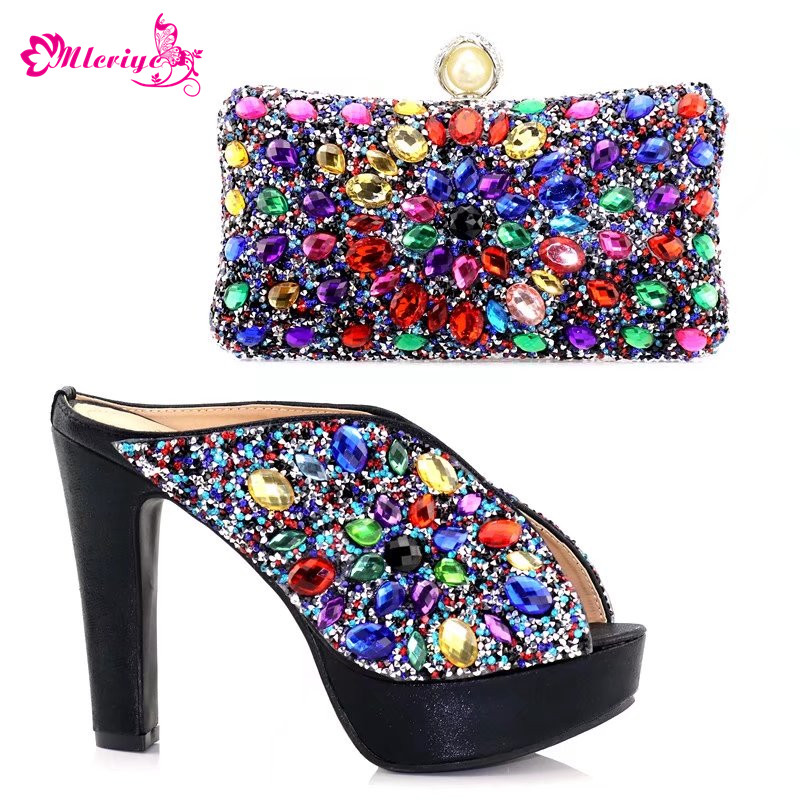 цена на Latest Design Italian Shoes with Matching Bags Set Decorated with Rhinestone Shoe and Bag for Nigeria Party African Party Shoes
