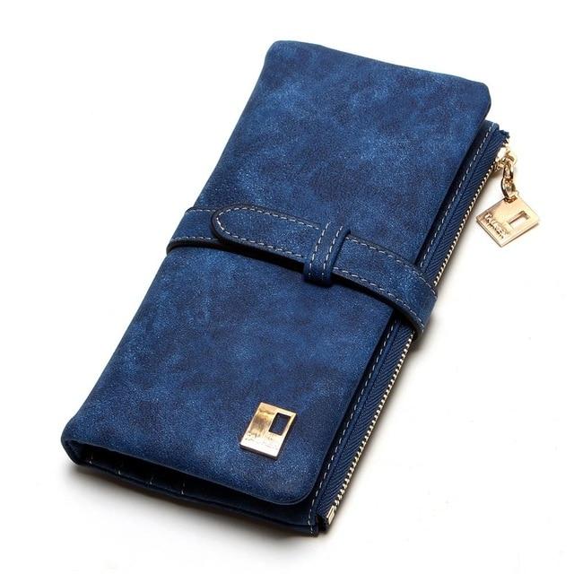 Теперь еще дешевле! Новые модные женские кошельки, кошелек из нубука на молнии, Женский Длинный дизайнерский кошелек, два сложения, много цветов, клатч - Цвет: Blue