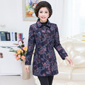 Douramento Impresso Trench Coat Queda de Meia Idade Mãe Turn-Down Collar Casaco de Inverno Plus Size Mulheres De Longo Flor Outerwear 5XL