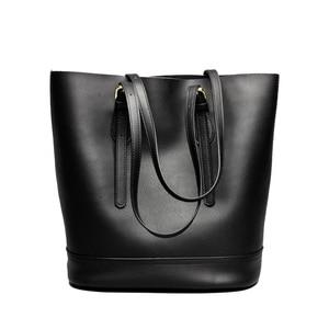 Image 5 - Zency borse a tracolla da donna di grande capacità 100% borsa in vera pelle borsa Shopping Vintage marrone borsa Tote Casual di qualità eccellente