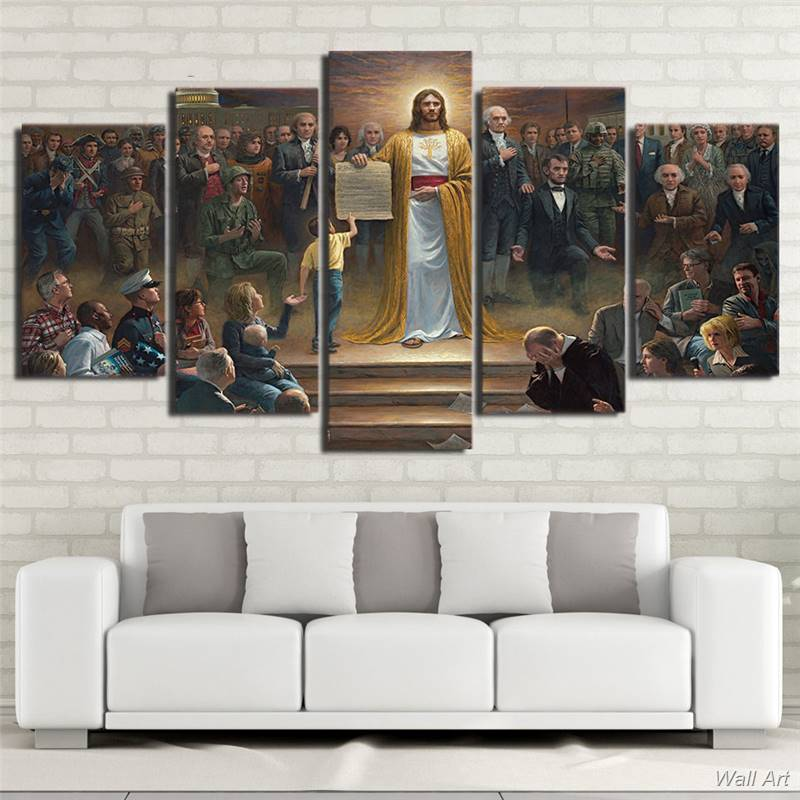 Hd Printed 5 Piece Canvas Art Classic Painting Jesus Christ Returns To Earth Christian Wall Decoration Free 92570 YP