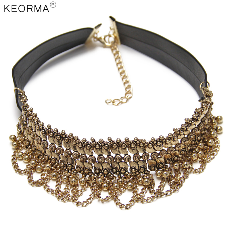 KEORMA Women Choker ZA Necklace Round Beads Exo Metal Pendant Leather Chain Statement Collar Necklace NK070