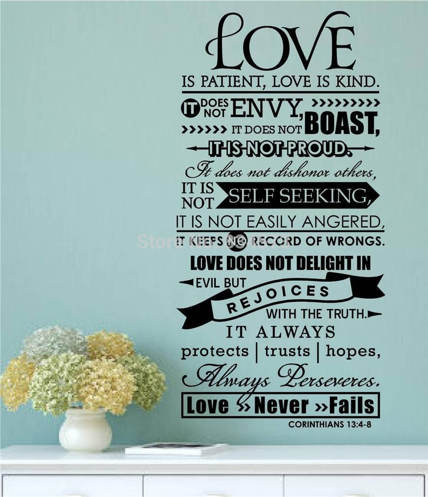 Love Is Patient Quote Online Shop Aiwall Bible Verse Love Is Patient Kind Quote Wall Art