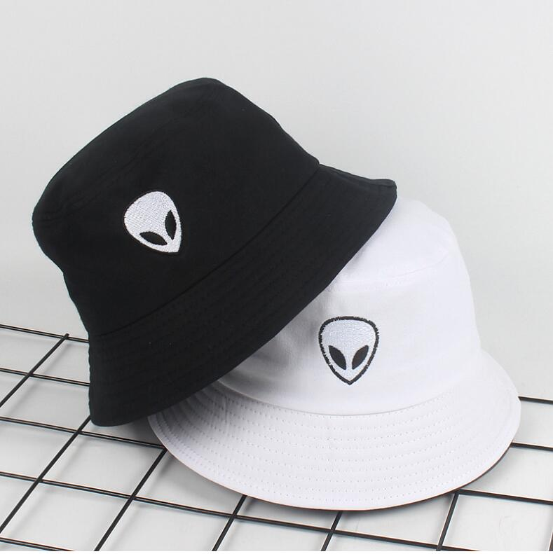 22894e281be698 2018 black white solid Alien Bucket Hat Unisex Bob Caps Hip Hop Gorros Men  women Summer Panama Cap Beach Sun Fishing boonie Hat-in Bucket Hats from  Apparel ...