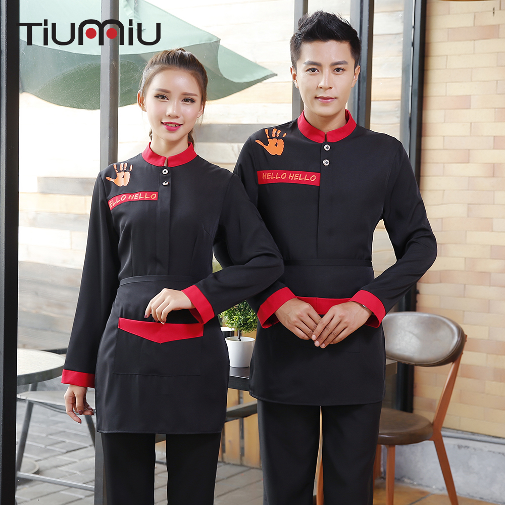 New Arrival Hello Palms Print Winter Waiter Waitress Uniforms Hotel Restaurant Bakery Long Sleeves Workwear Jacket Cleaning Tops