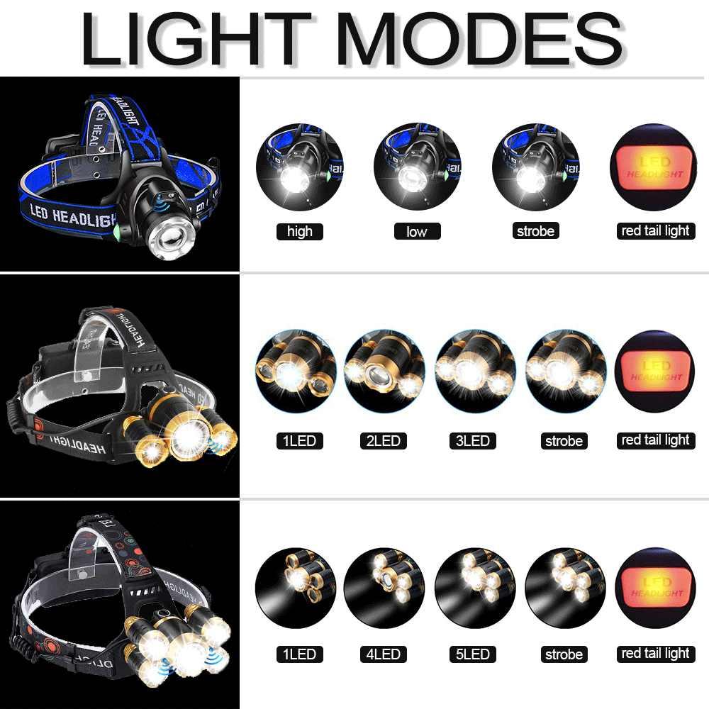 Faro de alto Sensor T6 linterna LED brillante Lámpara de cabeza impermeable linterna LED para cabeza Luz de cabeza recargable uso 18650