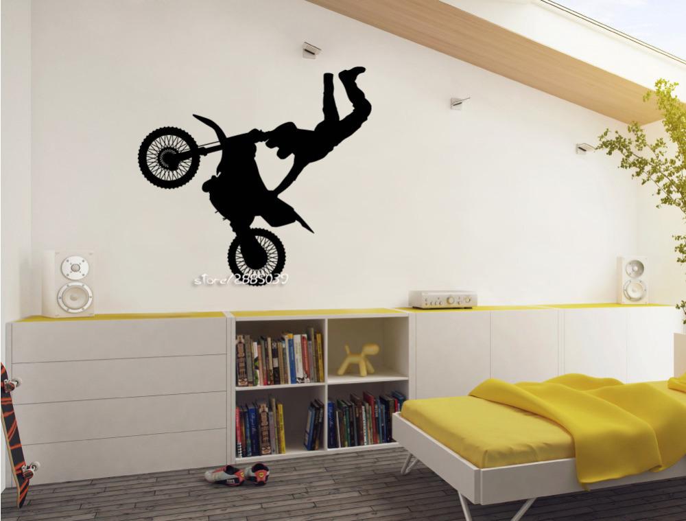 motorrad vinyl wandaufkleber motocross wandkunst dekors jungen kinderzimmer perfekte qualitt tapeten autocollant wandplakat sa669