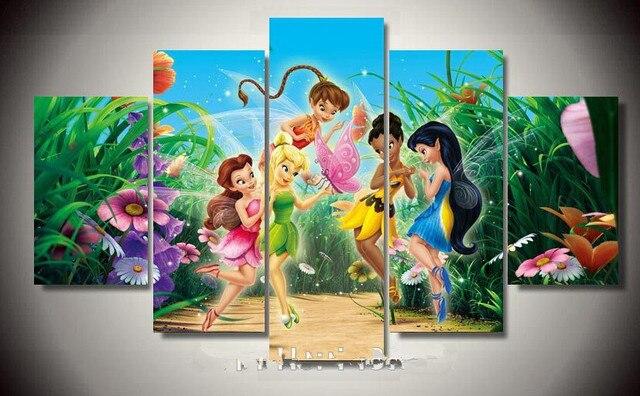 Omlijst gedrukt cartoon fairy tinkerbell schilderen muur kinderen