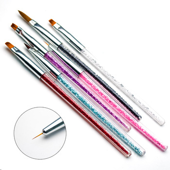 6 Styles Nail Art Brush With Rhinestone Handle And Plastic Material Acrylic Brushes for Manicure Nail Design