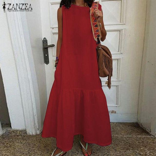 Womens Summer Sundress Plus Size Ruffle Dress 2020 ZANZEA Kaftan Sleeveless Long Maxi Vestidos Female Casual O Neck Beach Robe