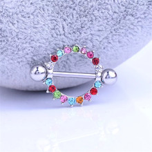 fashion 1 pair stainless steel flower nipple piercing rings women nipple sexy crystal women body Piercing jewelry gift