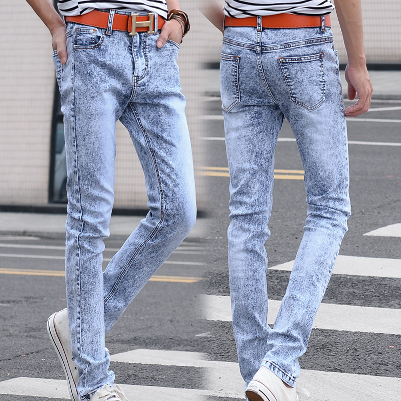 2015 New Young Men Light Blue Snow Style Slim Jeans Stretch Man Fashion Casual Denim Handsome