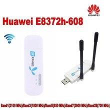 Разблокирована оригинальный 150 Мбит/с Huawei e8372h-608 4 г LTE модем Wi-Fi маршрутизатор плюс 2 шт. антенны