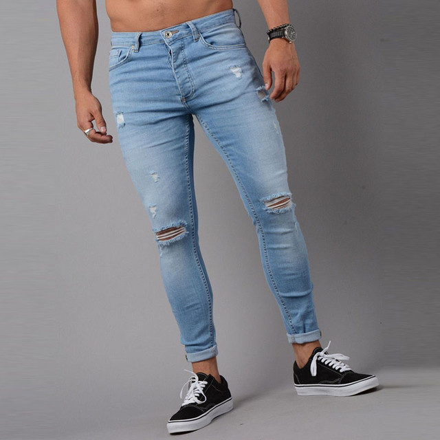 56214b43d0a Fashion Stretch Torn Jeans Men 2018 Casual Skinny Hole Denim Pants Slim Fit  Ripped Vintage Male Jean Homme Plus Size