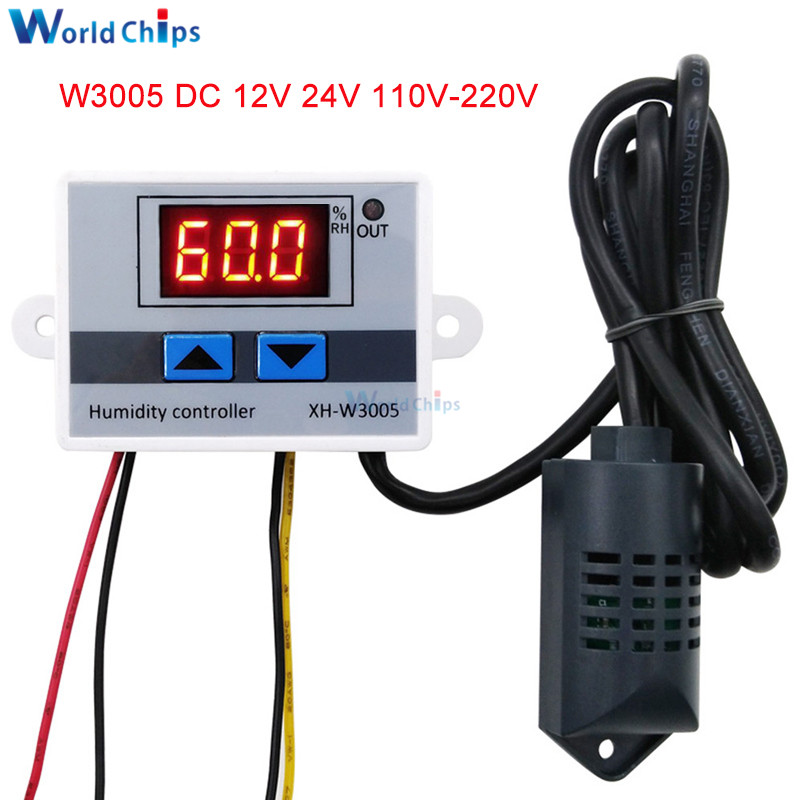XH-W3005 W3005 Digital Humidity Controller AC 110V 220V 12V 24V Hygrometer Humidity Control Switch Hygrostat W/ Humidity Sensor