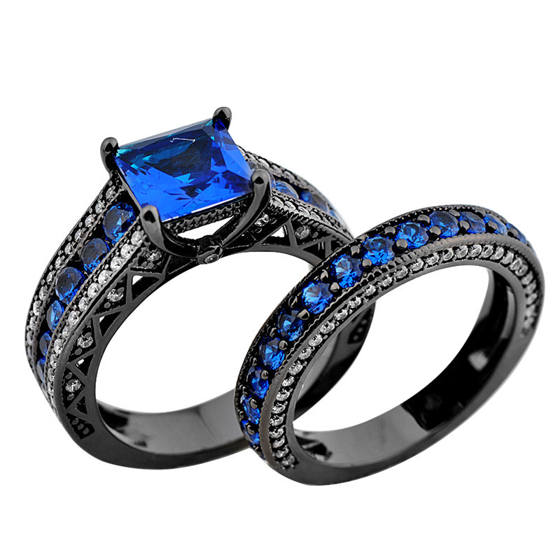 2016 Fashion Style Jewelry Size 5 11 Women Rings Princess Cut Blue Stone 10kt Black Gold Filled Ring Set Wedding Band Rb0153 In Bands From