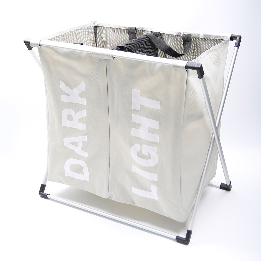 SHUSHI vattentät smutsig klädkorg Vikbar kreativ tvättkorg Två gallerkläder organiserar badrumstvätt