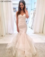 Simple Satin Mermaid Wedding Dress 2019 Ivory Ruffled Tulle Cheap Wedding Dresses Made in China Trumpet Reception Bridal Gowns