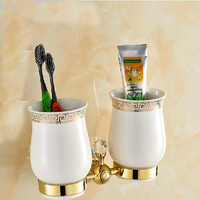 Wholesale And Retail Luxury Bathroom Accessories Tooth Brush Holder Dual Ceramic Cups Crystal Hangers Solid Brass