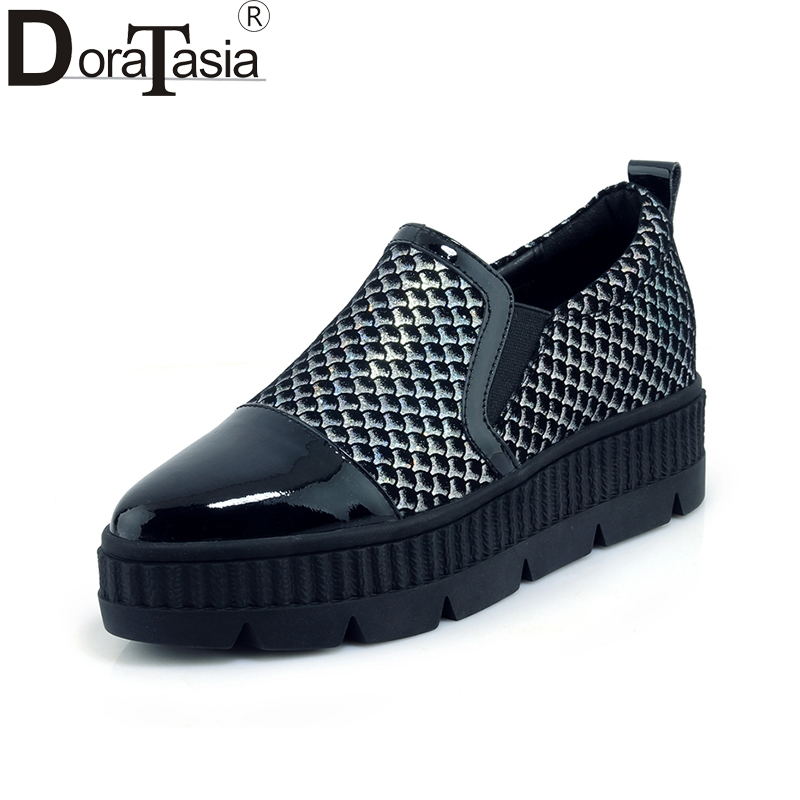 DoraTasia   top quality genuine leather Spring Flats Shoes Woman black slip on Casual loafers Women Shoes footwear цена и фото
