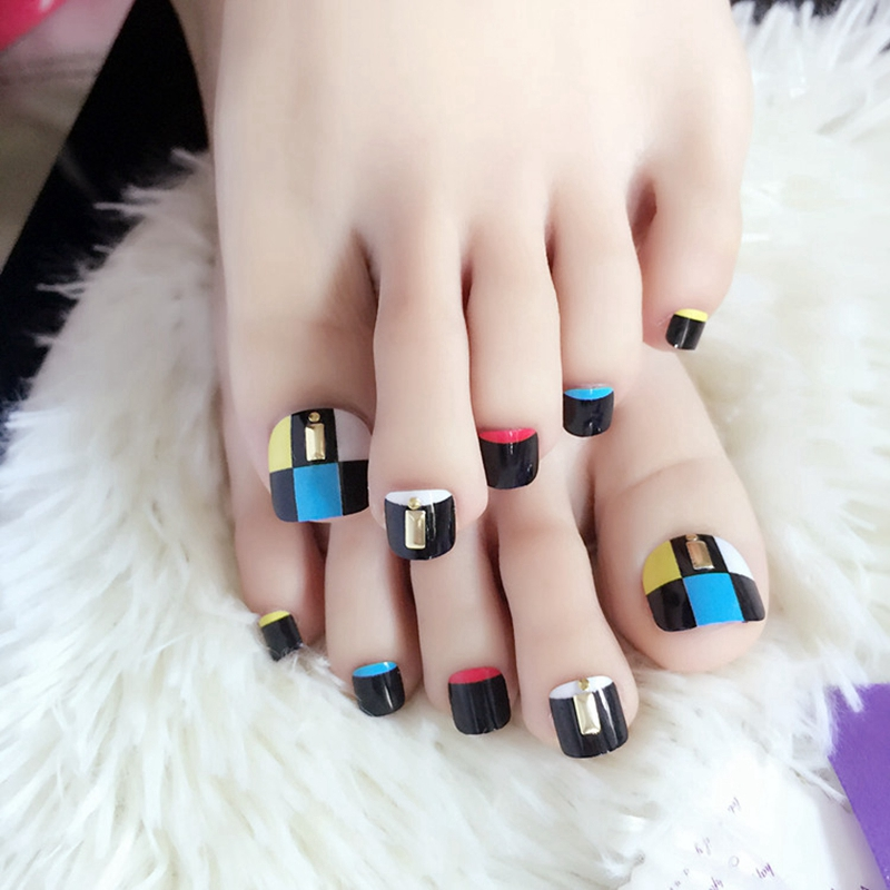 Acrylic False Toenails Nail Blue White Black Lattice Patterns Rivet ...