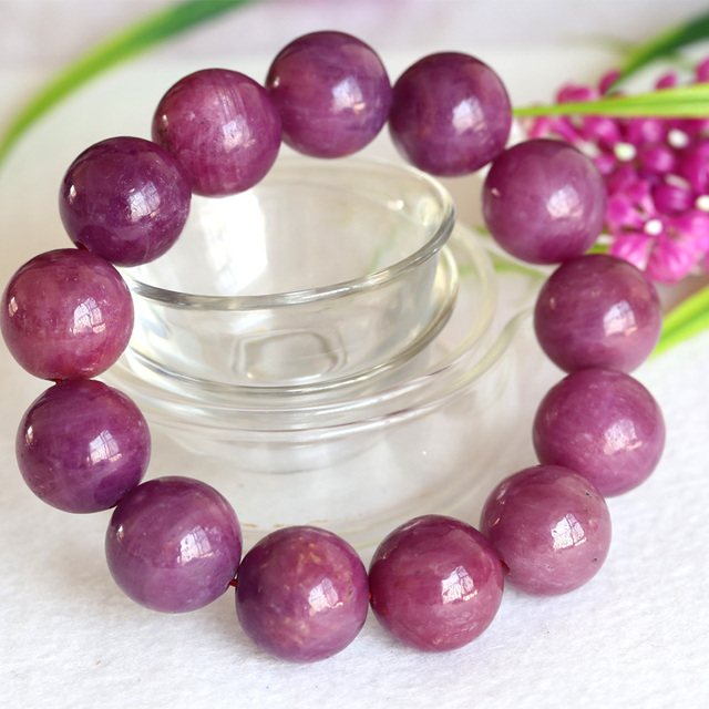 Discount Wholesale Natural Genuine Pink Red Ruby Bracelet Smooth Round beads Finished Stretch Bracelets Big Beads 17.7mm 04364