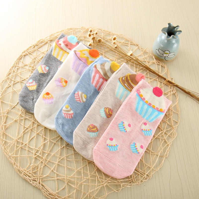 Милые для торта женские хлопковые носки женские летние короткие носки для беременных женщин, ежедневные мягкие забавная лодка носки