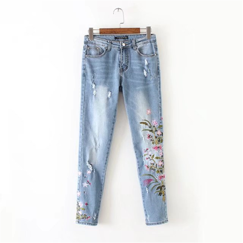Women Floral Embroidery Holes Denim Ripped Jeans Pockets Ankle-Length Pants Casual Trousers Jeans Mujer pockets casual ankle length embroidery summer hole denim harem pants fashion floral jeans ripped jeans for women tt2395