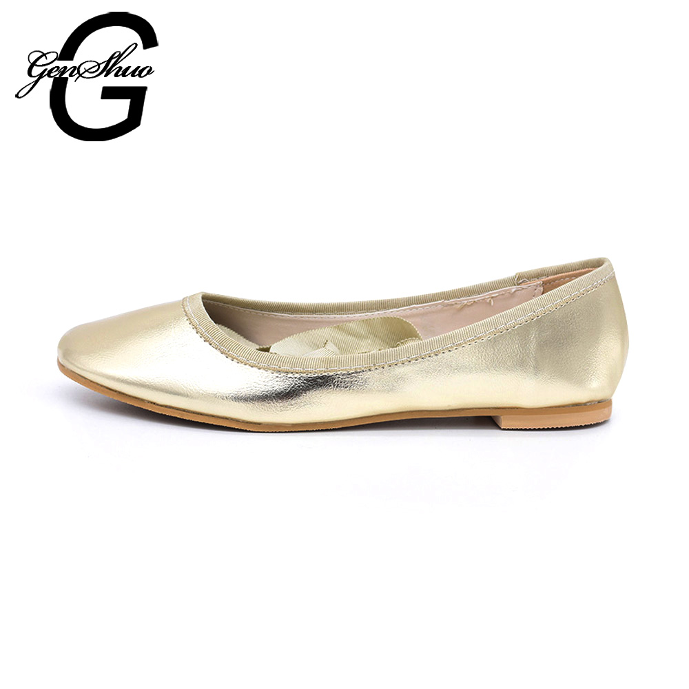 GENSHUO Spring Autumn Loafers Women Shoes Ladies Flat Shoes Ballet Flats Woman Ballerinas Casual Shoe Sapato Zapatos Mujer Women drfargo spring summer ladies shoes ballet flats women flat shoes woman ballerinas pointed toe sapato womens waved edge loafer