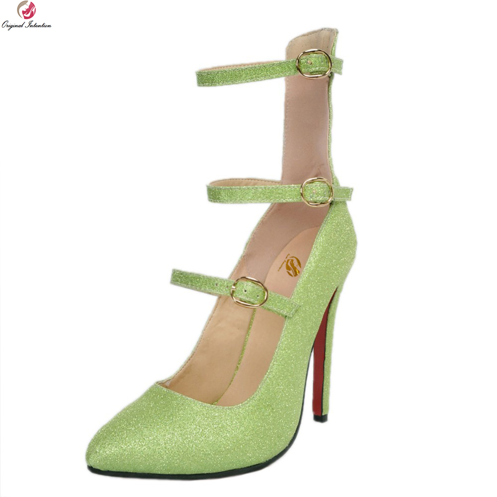 Original Intention New Sexy Women Sandals Charm Pointed Toe Thin Heel Sandals Glitter Bling Green Shoes Woman Plus US Size 4-15 gold sliver shoes woman for 2016 new spring glitter bling pointed toe flats women shoes for summer size plus 35 40 xwd1841