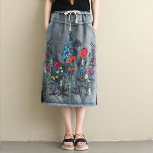 Image 3 - NYFS 2020 חדש קיץ בציר נשים ארוך ג ינס חצאית רקום ארוך חצאיות בציר ג ינס מכפלת פיצול עיפרון חצאיות
