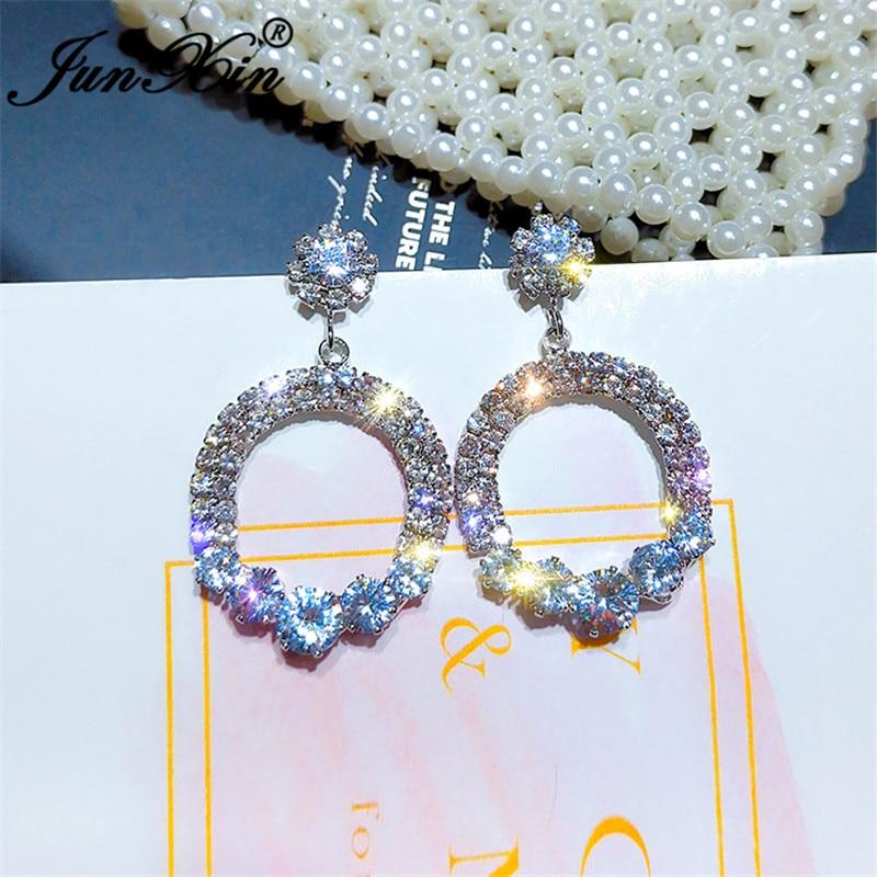 JUNXIN Geometry Round Earrings White Gold Yellow Gold Color Rhombus Water Drop Earrings For Women Korean Wedding Earring Jewelry