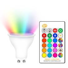 عكس الضوء رغب 220 فولت LED لمبة 110 فولت GU10 8 واط لامبادا Led مصباح رغب الأضواء غو 10 بومبيلاس مصباح ليد مع جهاز التحكم عن بعد 16 ألوان