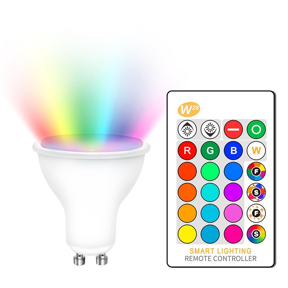 Dimmable RGB 220 v LED הנורה 110 v GU10 8 w Lampada Led מנורת RGB זרקור GU 10 Bombillas Led אור עם שלט רחוק 16 צבעים