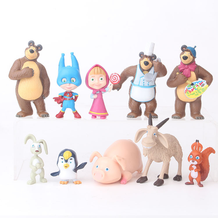 10 Pcs/set Russia Masha Toy  Creative Bear Doll Gift For Kids Cake Decoration  Children's Day Gift