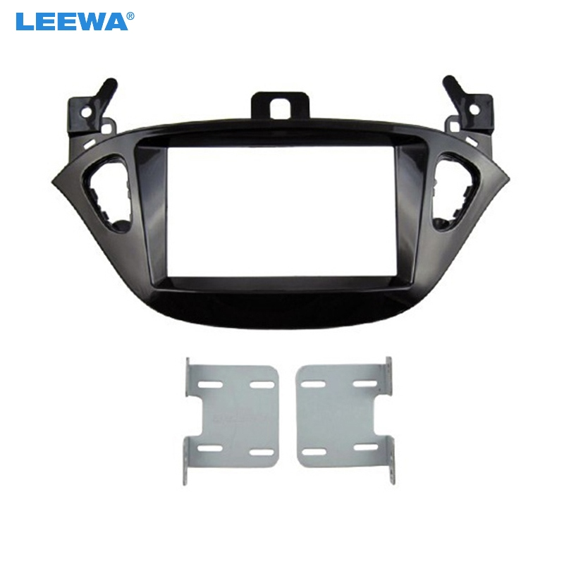 LEEWA Car 2 DIN Refitting Radio Fascia Frame for Opel Adam 2013 Stereo Dash face Plate Frame Panel Mount kit Adapter #CA5223 2 din car refitting frame panel for jaguar s