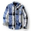PROMOCIÓN 2017 Nueva Moda de Primavera y Otoño de Los Hombres Camisas A Cuadros de manga Larga Camisas de Los Hombres Estilo Casual Slim Fit Camisa de Negocios algodón