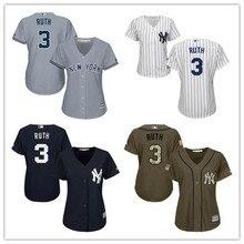 66b5db5b8 Women's New York Yankees Babe Ruth Home White Navy Gray Army Green Cool  Base Player Jersey