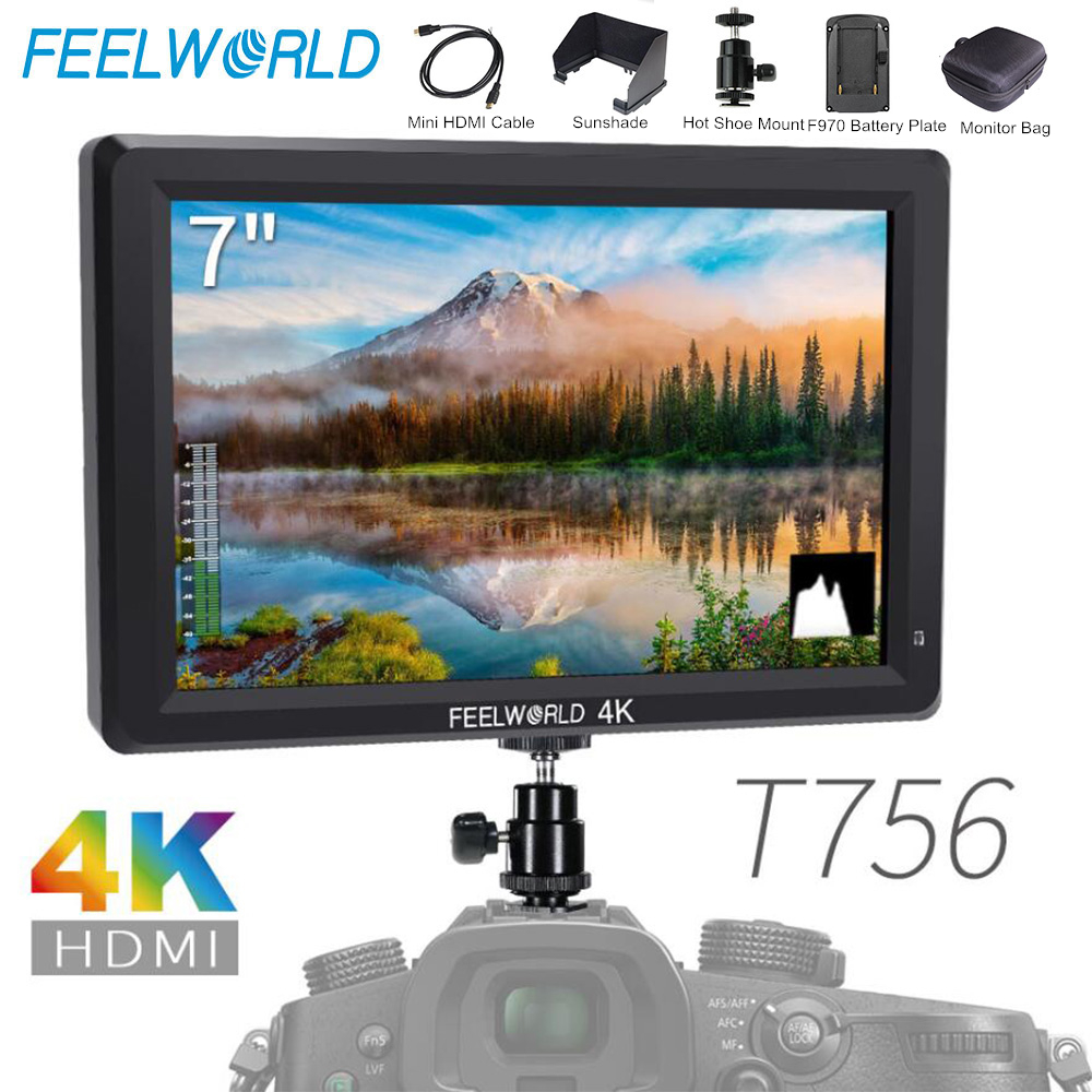 Feelworld T756 7 Inch IPS On Camera Field Monitor DSLR 4K HDMI Full HD 1920x1200 Portable LCD Monitor with Bag for Nikon Sony feelworld f7s 7 inch sdi 4k hdmi on camera dslr field monitor full hd 1920x1200 aluminum housing small lcd ips external display