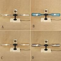 Modern stained Bottle lampshade desk light vintage clock tabel light include G4 bulb for bedroom bedside office study 220V