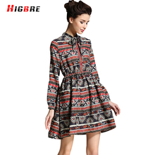 HIGBRE 2017 Lady Summer Large Size Vintage Dresses Loose Fit Woman Chinese Silk National Dress Ethnic